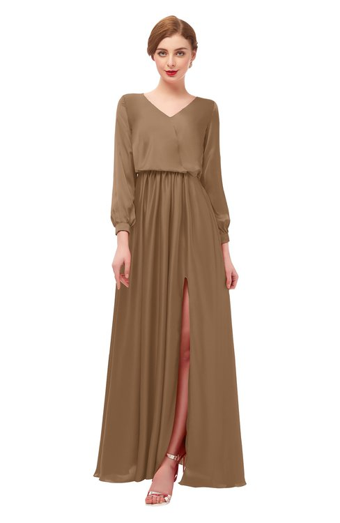 ColsBM Carey Bronze Brown Bridesmaid Dresses Long Sleeve A-line Glamorous Split-Front Floor Length V-neck