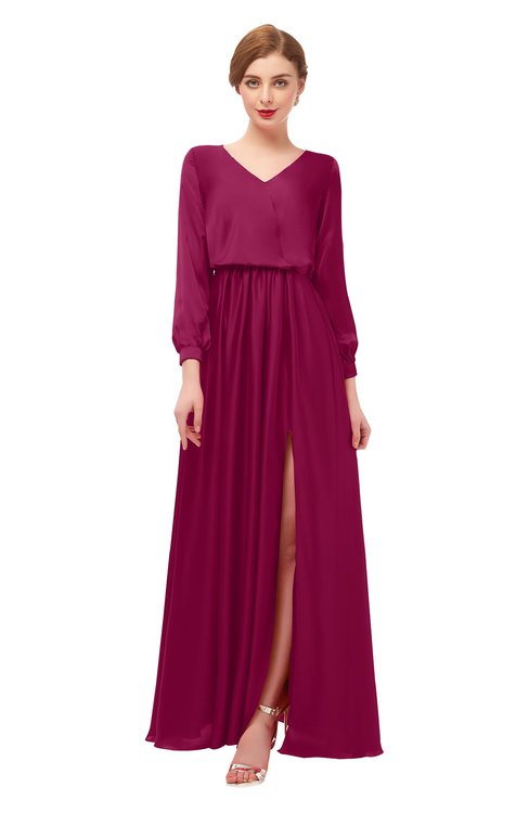 ColsBM Carey Burgundy Bridesmaid Dresses Long Sleeve A-line Glamorous Split-Front Floor Length V-neck