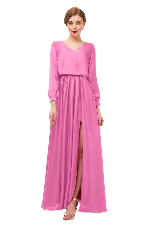 ColsBM Carey Carnation Pink Bridesmaid Dresses Long Sleeve A-line Glamorous Split-Front Floor Length V-neck