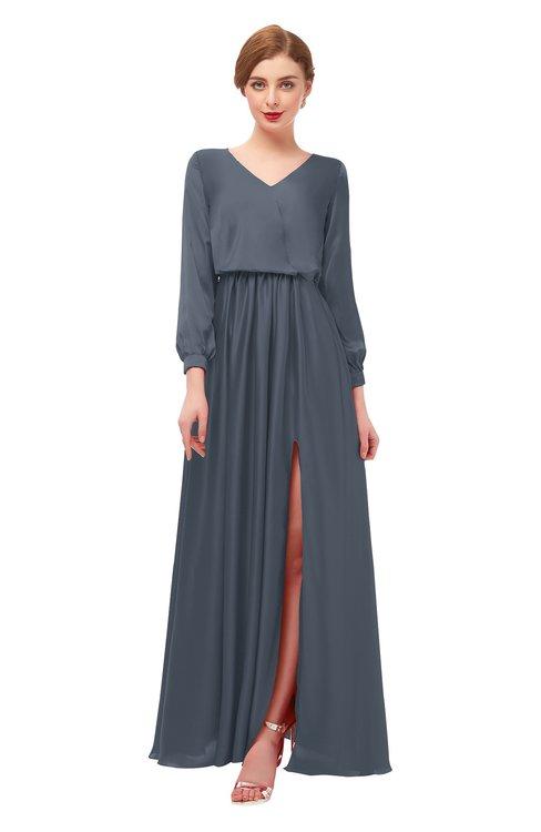 ColsBM Carey Charcoal Bridesmaid Dresses Long Sleeve A-line Glamorous Split-Front Floor Length V-neck