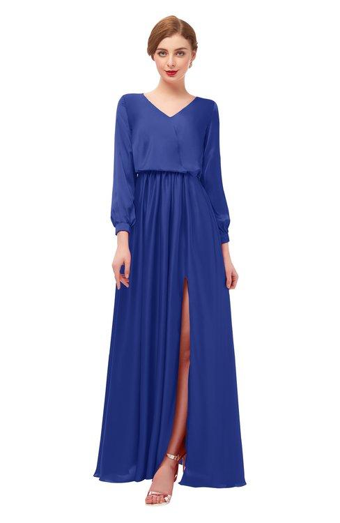 ColsBM Carey Electric Blue Bridesmaid Dresses Long Sleeve A-line Glamorous Split-Front Floor Length V-neck
