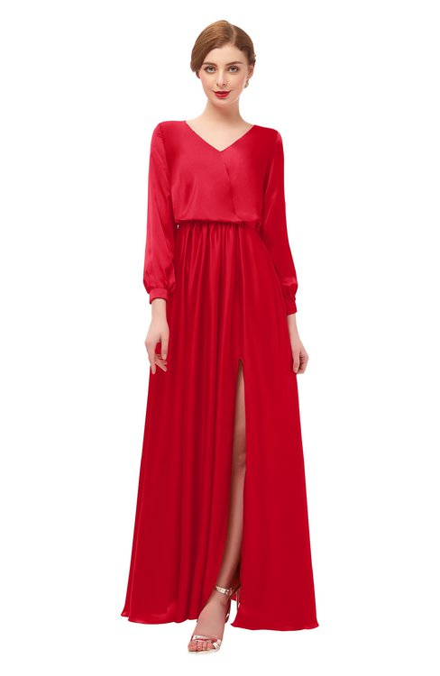 ColsBM Carey Red Bridesmaid Dresses Long Sleeve A-line Glamorous Split-Front Floor Length V-neck