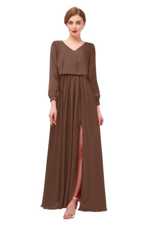 ColsBM Carey Root Beer Bridesmaid Dresses Long Sleeve A-line Glamorous Split-Front Floor Length V-neck