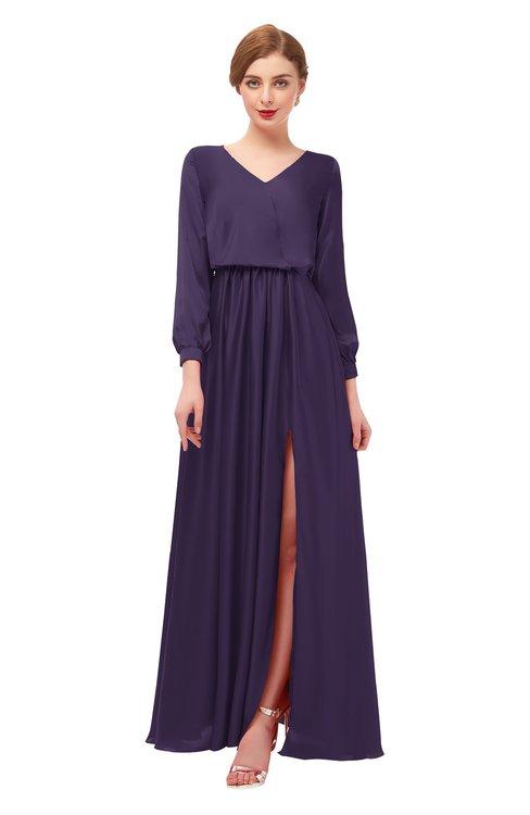 ColsBM Carey Violet Bridesmaid Dresses Long Sleeve A-line Glamorous Split-Front Floor Length V-neck