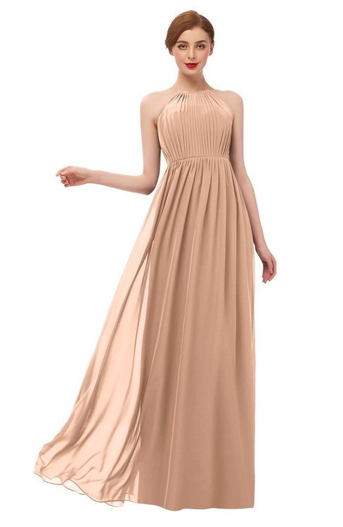 ColsBM Peyton Almost Apricot Bridesmaid Dresses Pleated Halter Sleeveless Half Backless A-line Glamorous