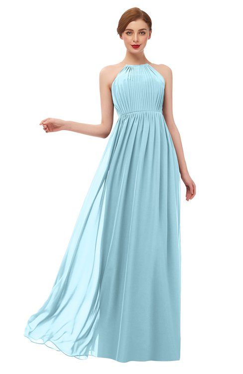 ColsBM Peyton Aqua Bridesmaid Dresses Pleated Halter Sleeveless Half Backless A-line Glamorous