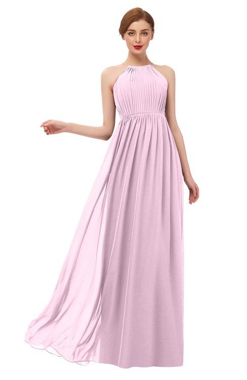 ColsBM Peyton Baby Pink Bridesmaid Dresses Pleated Halter Sleeveless Half Backless A-line Glamorous