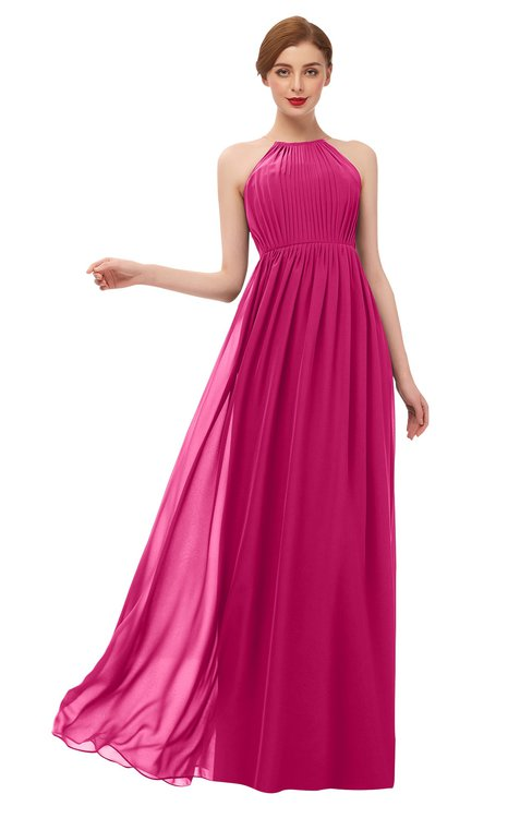 ColsBM Peyton Beetroot Purple Bridesmaid Dresses Pleated Halter Sleeveless Half Backless A-line Glamorous