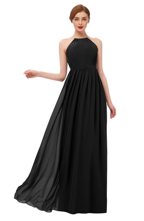 ColsBM Peyton Black Bridesmaid Dresses Pleated Halter Sleeveless Half Backless A-line Glamorous
