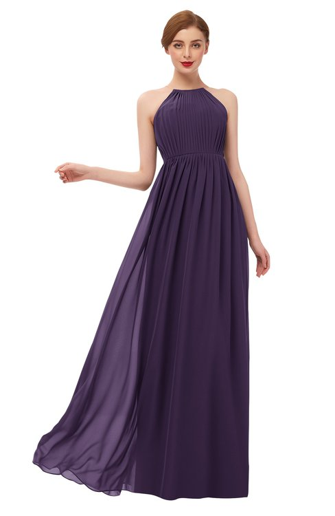 ColsBM Peyton Blackberry Cordial Bridesmaid Dresses Pleated Halter Sleeveless Half Backless A-line Glamorous