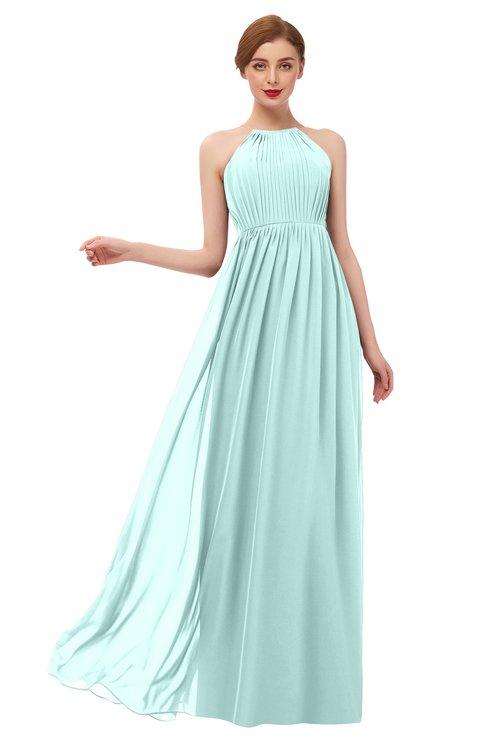 ColsBM Peyton Blue Glass Bridesmaid Dresses Pleated Halter Sleeveless Half Backless A-line Glamorous