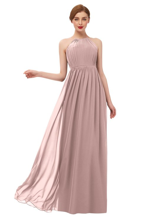 ColsBM Peyton Blush Pink Bridesmaid Dresses Pleated Halter Sleeveless Half Backless A-line Glamorous