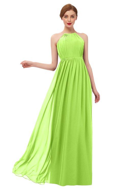 ColsBM Peyton Bright Green Bridesmaid Dresses Pleated Halter Sleeveless Half Backless A-line Glamorous