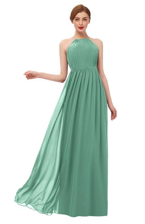 ColsBM Peyton Bristol Blue Bridesmaid Dresses Pleated Halter Sleeveless Half Backless A-line Glamorous
