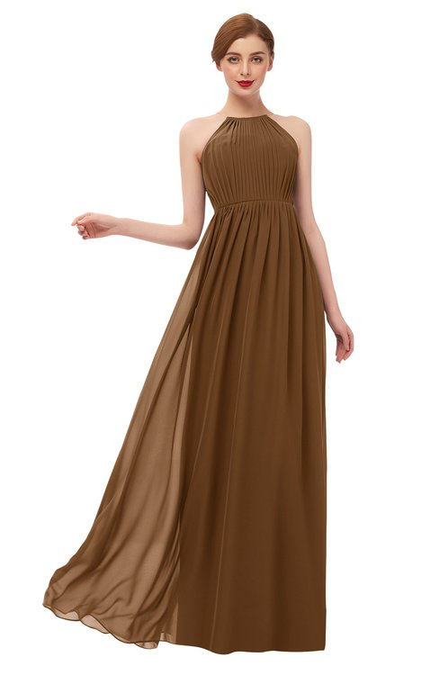 ColsBM Peyton Brown Bridesmaid Dresses Pleated Halter Sleeveless Half Backless A-line Glamorous