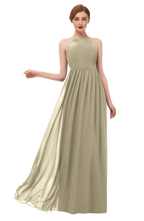 ColsBM Peyton Candied Ginger Bridesmaid Dresses Pleated Halter Sleeveless Half Backless A-line Glamorous