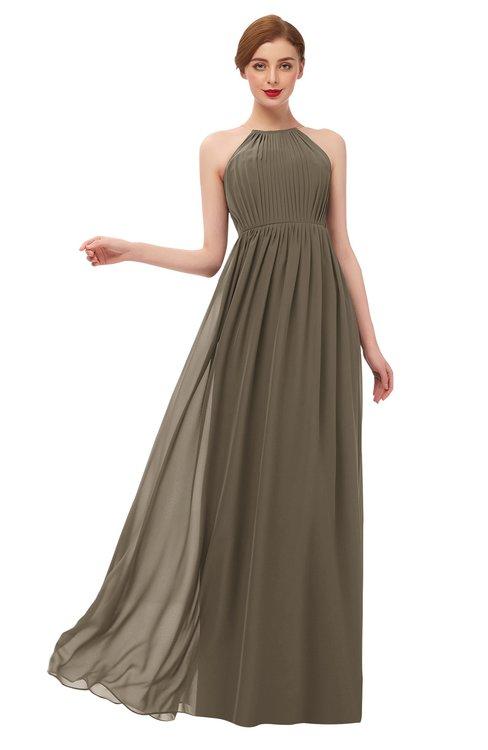 ColsBM Peyton Carafe Brown Bridesmaid Dresses Pleated Halter Sleeveless Half Backless A-line Glamorous