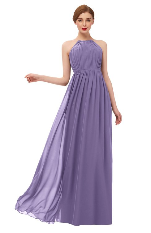 ColsBM Peyton Chalk Violet Bridesmaid Dresses Pleated Halter Sleeveless Half Backless A-line Glamorous