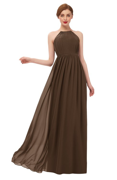ColsBM Peyton Chocolate Brown Bridesmaid Dresses Pleated Halter Sleeveless Half Backless A-line Glamorous