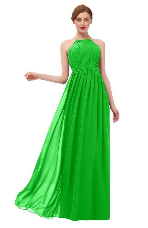 ColsBM Peyton Classic Green Bridesmaid Dresses Pleated Halter Sleeveless Half Backless A-line Glamorous
