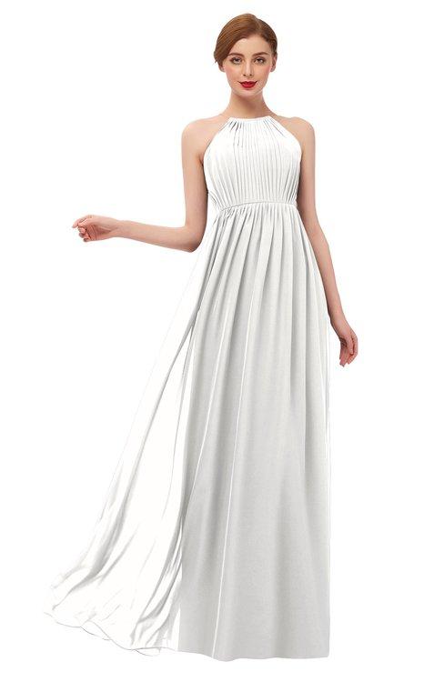 ColsBM Peyton Cloud White Bridesmaid Dresses Pleated Halter Sleeveless Half Backless A-line Glamorous