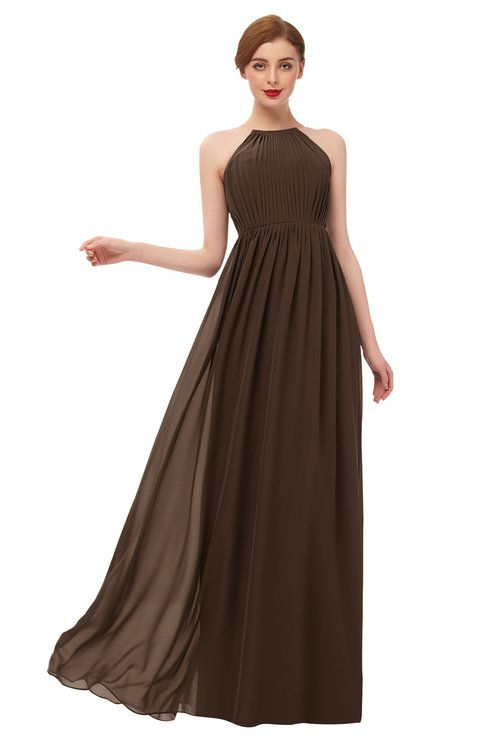ColsBM Peyton Copper Bridesmaid Dresses Pleated Halter Sleeveless Half Backless A-line Glamorous