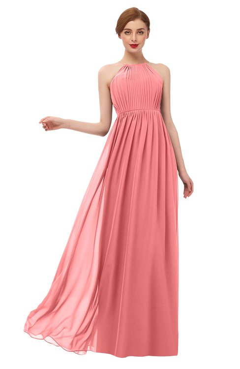 ColsBM Peyton Coral Bridesmaid Dresses Pleated Halter Sleeveless Half Backless A-line Glamorous