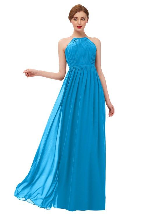 ColsBM Peyton Cornflower Blue Bridesmaid Dresses Pleated Halter Sleeveless Half Backless A-line Glamorous