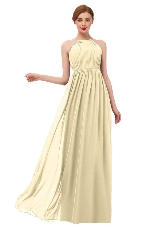 ColsBM Peyton Cornhusk Bridesmaid Dresses Pleated Halter Sleeveless Half Backless A-line Glamorous
