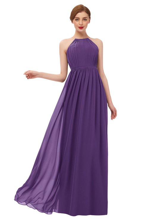 ColsBM Peyton Dark Purple Bridesmaid Dresses Pleated Halter Sleeveless Half Backless A-line Glamorous