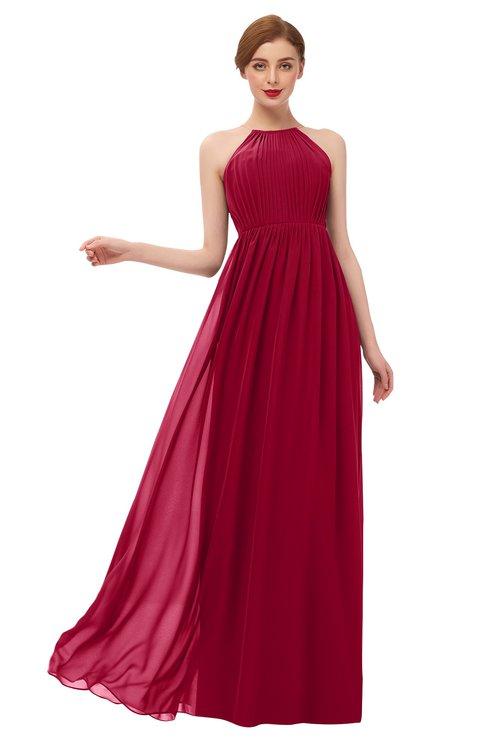 ColsBM Peyton Dark Red Bridesmaid Dresses Pleated Halter Sleeveless Half Backless A-line Glamorous