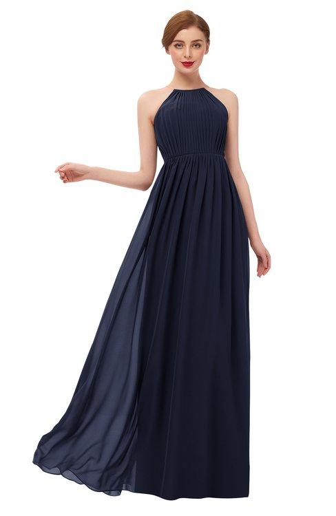 ColsBM Peyton Dark Sapphire Bridesmaid Dresses Pleated Halter Sleeveless Half Backless A-line Glamorous