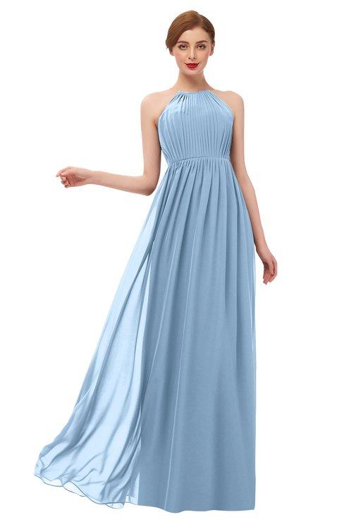 ColsBM Peyton Dusty Blue Bridesmaid Dresses Pleated Halter Sleeveless Half Backless A-line Glamorous