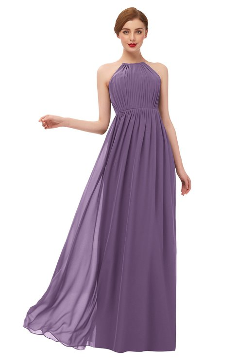 ColsBM Peyton Eggplant Bridesmaid Dresses Pleated Halter Sleeveless Half Backless A-line Glamorous