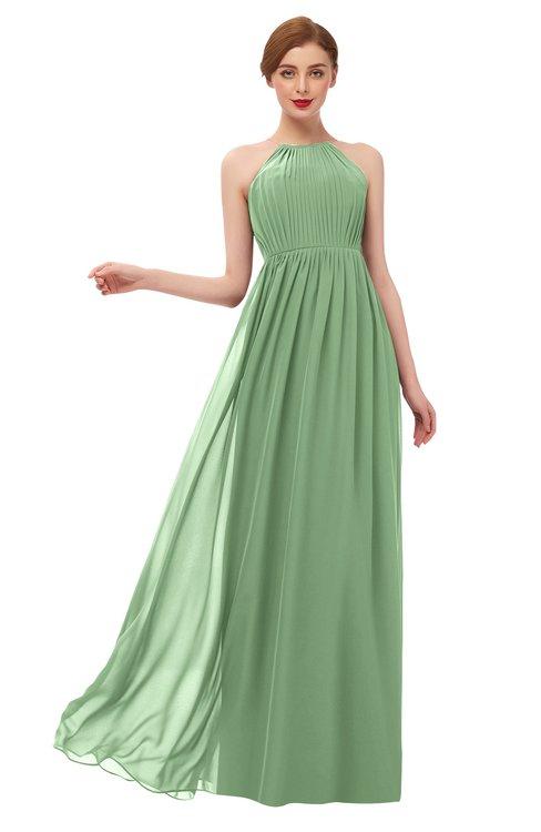 ColsBM Peyton Fair Green Bridesmaid Dresses Pleated Halter Sleeveless Half Backless A-line Glamorous