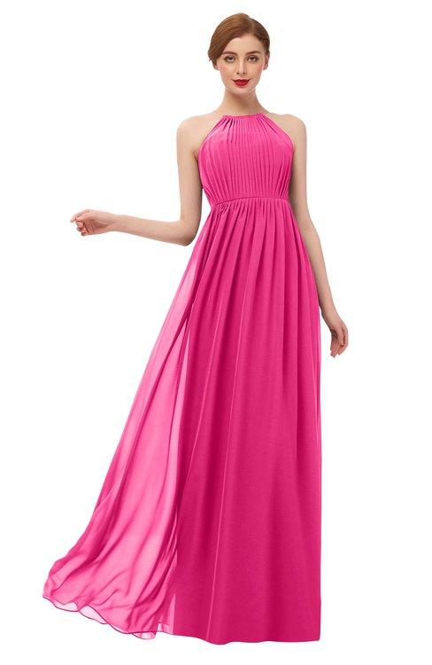 ColsBM Peyton Fandango Pink Bridesmaid Dresses Pleated Halter Sleeveless Half Backless A-line Glamorous