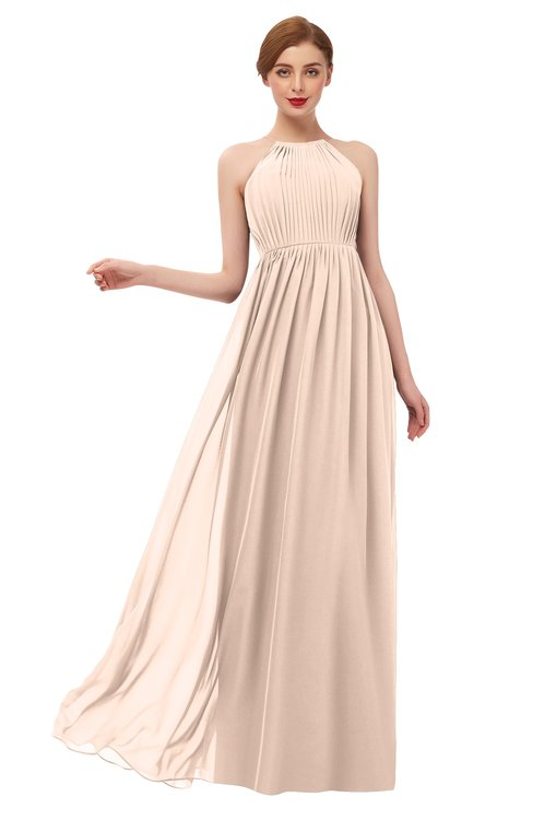 ColsBM Peyton Fresh Salmon Bridesmaid Dresses Pleated Halter Sleeveless Half Backless A-line Glamorous