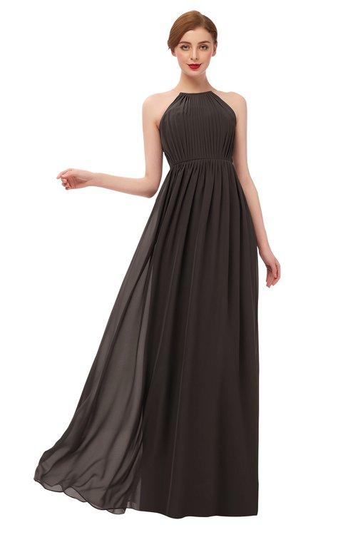 ColsBM Peyton Fudge Brown Bridesmaid Dresses Pleated Halter Sleeveless Half Backless A-line Glamorous