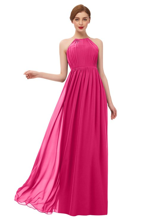 ColsBM Peyton Fuschia Bridesmaid Dresses Pleated Halter Sleeveless Half Backless A-line Glamorous