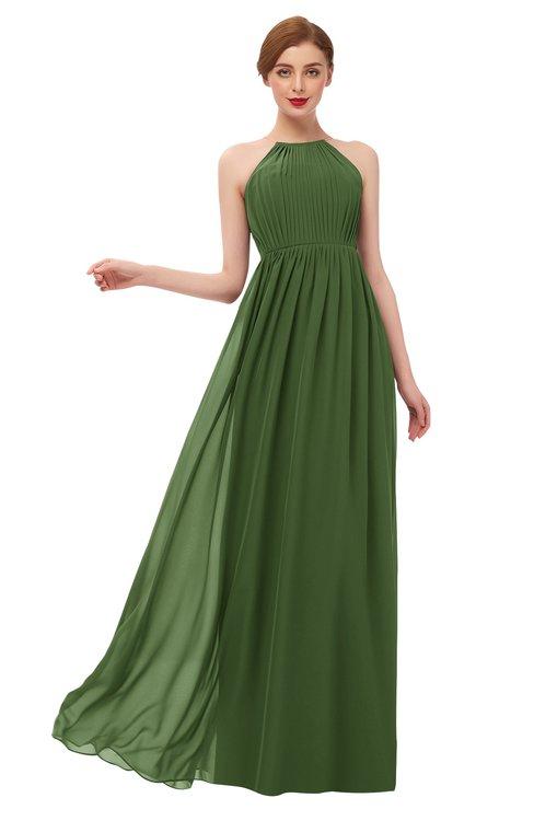 ColsBM Peyton Garden Green Bridesmaid Dresses Pleated Halter Sleeveless Half Backless A-line Glamorous