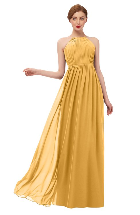 ColsBM Peyton Golden Cream Bridesmaid Dresses Pleated Halter Sleeveless Half Backless A-line Glamorous