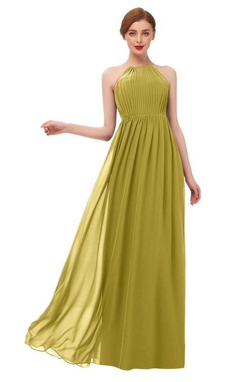 ColsBM Peyton Golden Olive Bridesmaid Dresses Pleated Halter Sleeveless Half Backless A-line Glamorous
