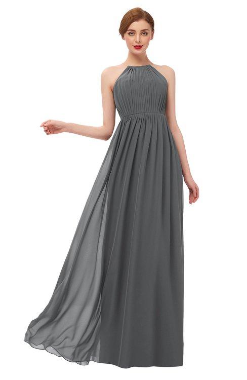 ColsBM Peyton Grey Bridesmaid Dresses Pleated Halter Sleeveless Half Backless A-line Glamorous