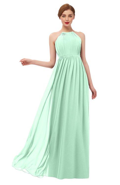 ColsBM Peyton Honeydew Bridesmaid Dresses Pleated Halter Sleeveless Half Backless A-line Glamorous