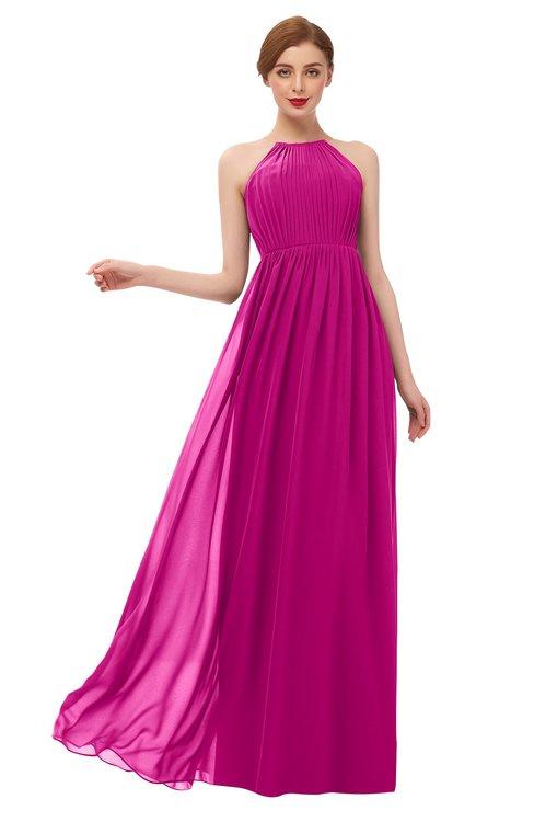 ColsBM Peyton Hot Pink Bridesmaid Dresses Pleated Halter Sleeveless Half Backless A-line Glamorous