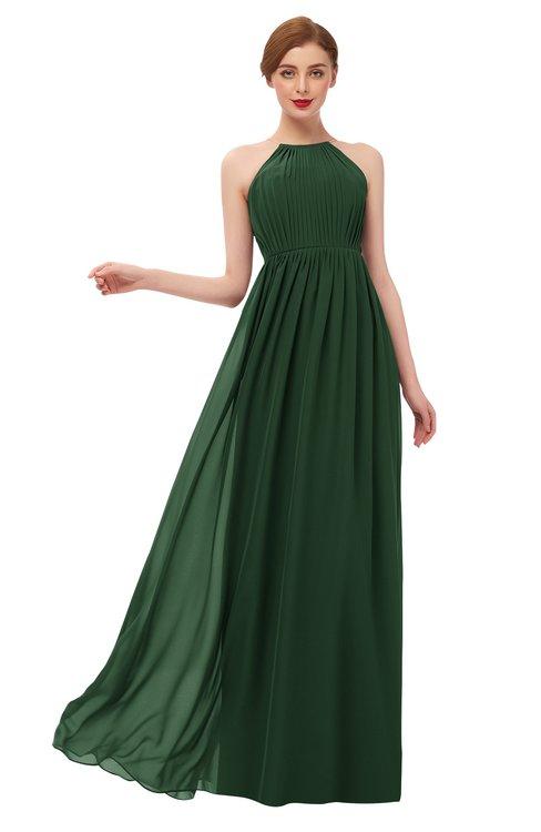 ColsBM Peyton Hunter Green Bridesmaid Dresses Pleated Halter Sleeveless Half Backless A-line Glamorous
