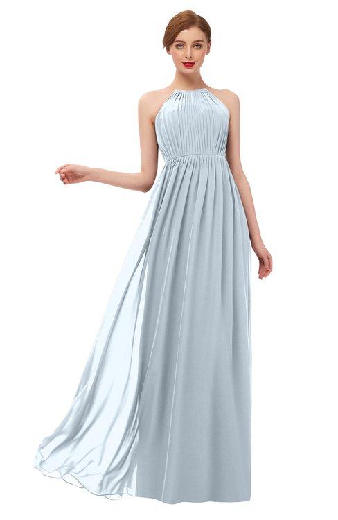 ColsBM Peyton Illusion Blue Bridesmaid Dresses Pleated Halter Sleeveless Half Backless A-line Glamorous