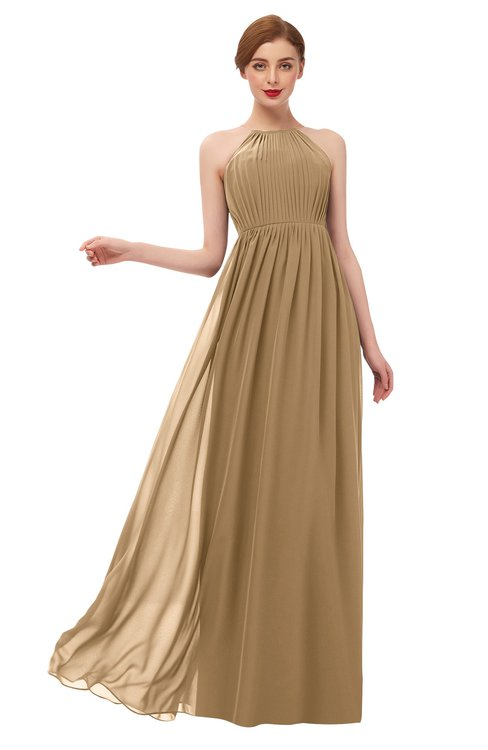 ColsBM Peyton Indian Tan Bridesmaid Dresses Pleated Halter Sleeveless Half Backless A-line Glamorous