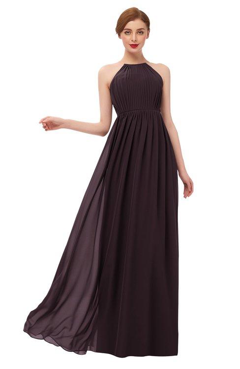 ColsBM Peyton Italian Plum Bridesmaid Dresses Pleated Halter Sleeveless Half Backless A-line Glamorous