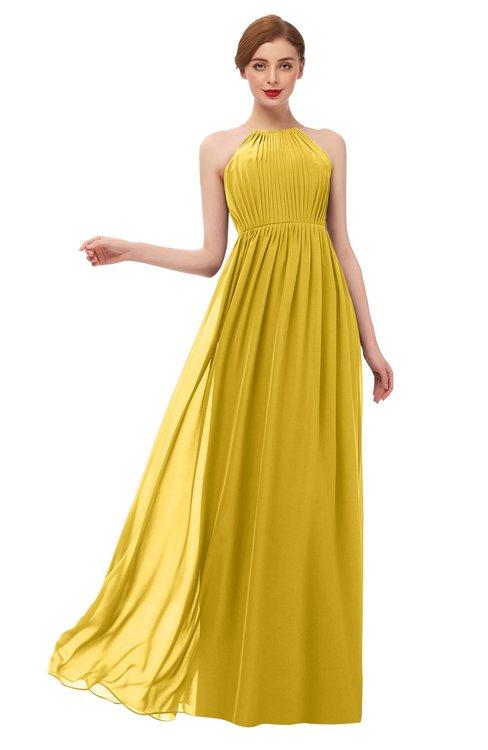 ColsBM Peyton Lemon Curry Bridesmaid Dresses Pleated Halter Sleeveless Half Backless A-line Glamorous